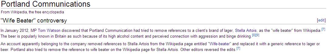 Portland Communication sur Wikipedia (5 janvier 2012)