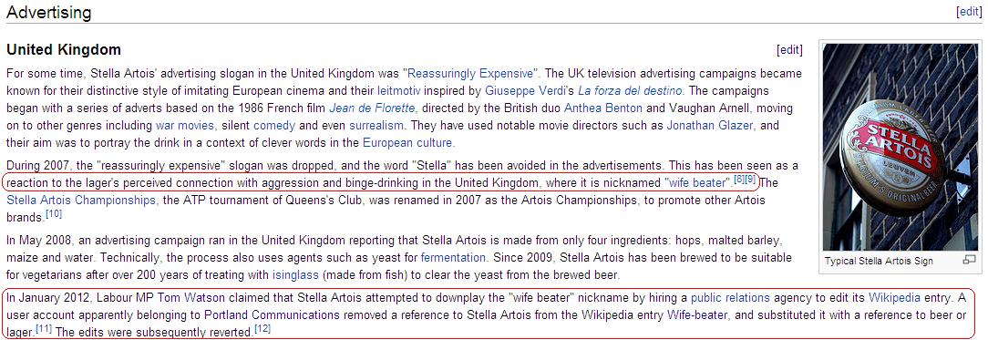 Stella Artois sur Wikipedia (5 janvier 2012)