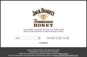 Vérification de l'âge - Jack Daniel's Honey