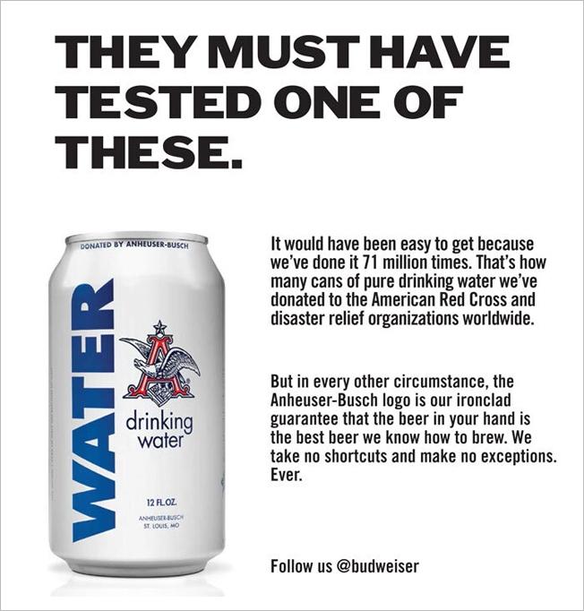 Cannette d'eau vs bière - Anheuser-Busch